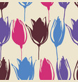 spring tulip flowers stems seamless pattern vector image vector image