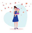 standing mother holds daughter on a background vector image