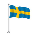 swedish flag isolated wave flag sweden country vector image vector image