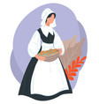 thanksgiving holiday woman character carrying vector image vector image
