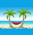 tropical beach landscape with hammrock vector image vector image