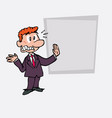very scared red hair businessman is showing as in vector image vector image
