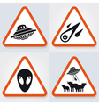 Warning UFO Signs 2 vector image vector image