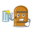 with juice large wooden door with cartoon handle vector image
