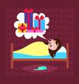 woman sleep in bad dream bubble gift box present vector image vector image