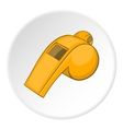 Yellow sport whistle icon cartoon style vector image vector image