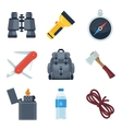 Flat icons set of camping equipment vector image