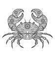 Crab zentangle icon hand drawn crab vector image