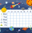 Schedule for students Table with lessons for vector image