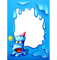 A blue border design with a monster wearing a hat vector image vector image
