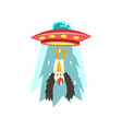 alien ufo spaceship taking away eagle flying vector image
