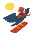 bird goes snowboarding vector image vector image