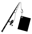 black fishing rod with label vector image vector image