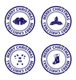 Blue christmas rubber stamps vector image