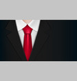 businessman in a black suit and red tie vector image