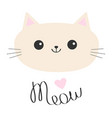 cat head icon cute funny cartoon character meow vector image vector image