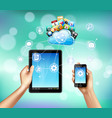 cloud storage realistic composition vector image