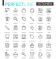 cooking and kitchen thin line web icons set vector image vector image