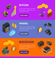 cryptocurrency mining blockchain 3d banner vector image vector image