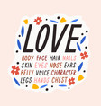 cute colorful inscription for self acceptance vector image vector image