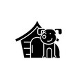 domestic dog black icon sign on isolated vector image vector image