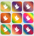 Dove icon Nine buttons with bright gradients for vector image vector image