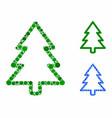 fir-tree mosaic icon circles vector image vector image