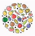 fruits and vegetables poster of flat outline vector image