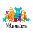 group of cute monsters cartoon characters vector image
