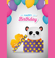happy birthday card with cute bear panda vector image