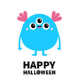 happy halloween blue monster with three eyes and vector image vector image