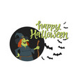 happy halloween poster - modern cartoon character vector image