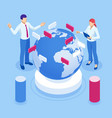 isometric global business connections and vector image vector image