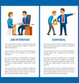 job interview and dismissal worker poster vector image
