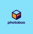 modern professional logo photobox in photography vector image