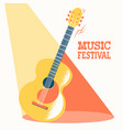 music festival poster with acoustic guitar and vector image vector image