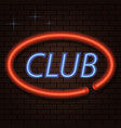 neon signboard inscription club on a brick vector image vector image