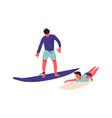 people at beach cartoon men surfing cute vector image