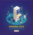 personal data protection background vector image