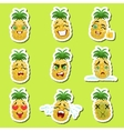 Pineapple Cute Emoji Stickers Set On Green vector image