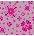 Pink flowers with bows seamless pattern vector image