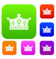 prince crown set color collection vector image vector image