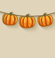 pumpkins on rope thanksgiving background vector image vector image
