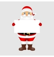 Santa peeping from behind a big white poster vector image
