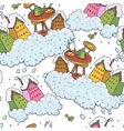 Seamless Christmas Background Houses and Tea Party vector image vector image