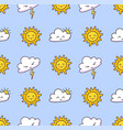 seamless pattern with clouds lightning sun on a vector image