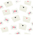 seamless pattern with love letters postal stamps vector image