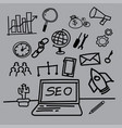 seo hand-drawn style vector image vector image