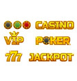 set golden logo jackpot poker 777 casino vector image vector image