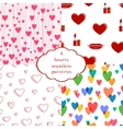 Set of 4 seamless patterns with hearts vector image vector image
